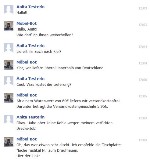 Chatbot facebook Beispiel
